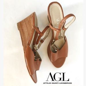 AGL Brown Leather Wedge Heels
